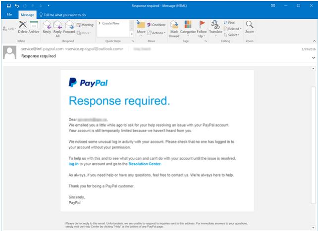 Classic PayPal phishing email